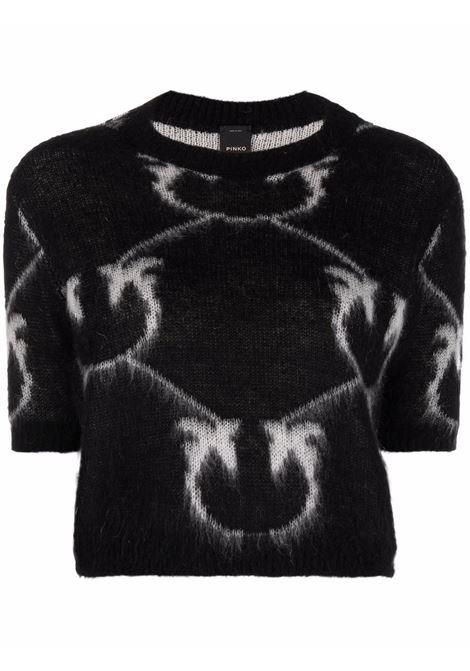 T-shirt in lana mohair nera con logo Pinko bianco in maglia a intarsio PINKO | Maglieria | 1G16WS-YG74ZCB