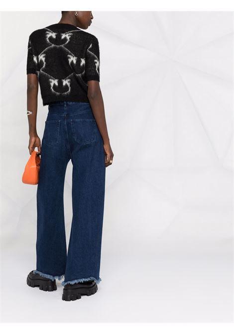 black mohair wool T-shirt featuring white Pinko intarsia-knit logo PINKO |  | 1G16WS-YG74ZCB