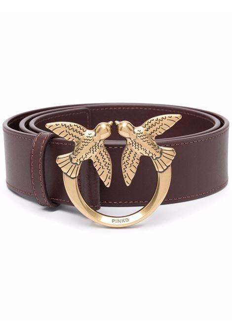 Cintura Love Birds in pelle marrone e metallo con maglia a catena PINKO | Cinture | 1H20X4-Y6XTR64