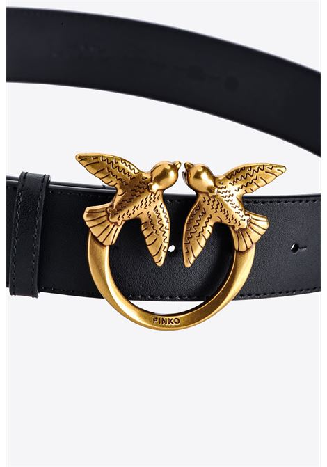 Black 4cm Love Berry leather gold Pinko grained logo plaque belt  PINKO      1H20X4-Y6XTZ99