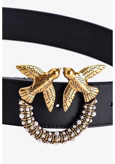 4cm black leather Love Jewel Hips Simply belt  PINKO      1H20X6-Y6XTZ99