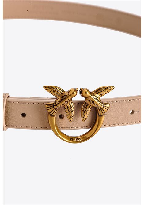 beige leather 2cm Love Berry belt  PINKO      1H20X8-Y6XTC61