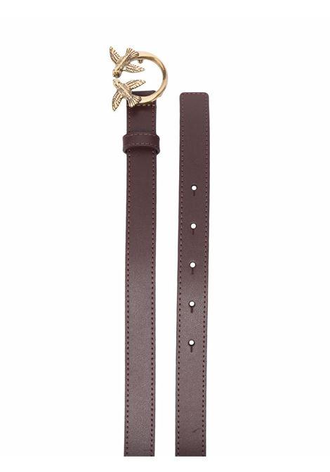 Cintura Love Berry da 2 cm in pelle bordeaux con fibbia Pinko oro PINKO | Cinture | 1H20X8-Y6XTR64
