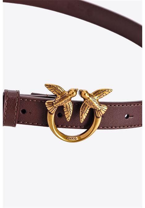 bordeaux leather 2cm Love Berry belt  PINKO      1H20X8-Y6XTR64