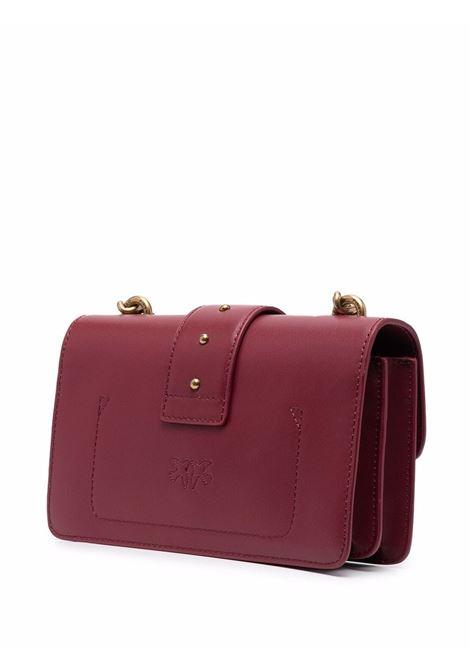 Borsa Love Mini Icon Simply in pelle bordeaux con logo Pinko color oro PINKO | Borse a tracolla | 1P22AB-Y6XTR44