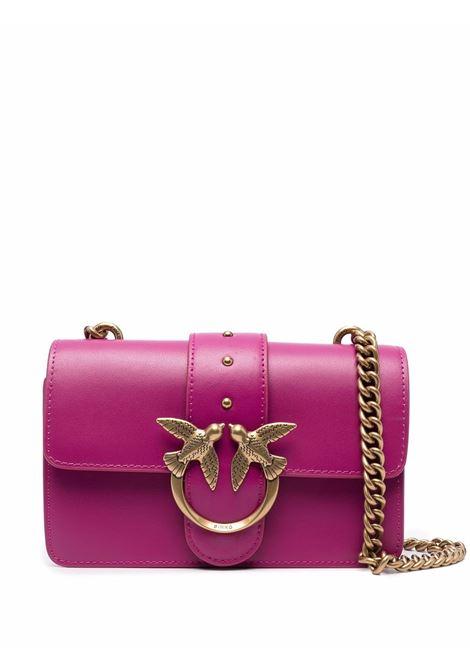 Borsa Love Mini Icon Simply in pelle ciclamino con logo Pinko color oro PINKO | Borse a tracolla | 1P22AB-Y6XTW48