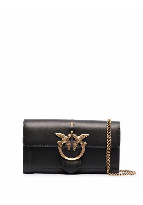 Portafoglio con tracolla dorata Love in pelle nera PINKO | Portafogli | 1P22AM-Y6XTZ99