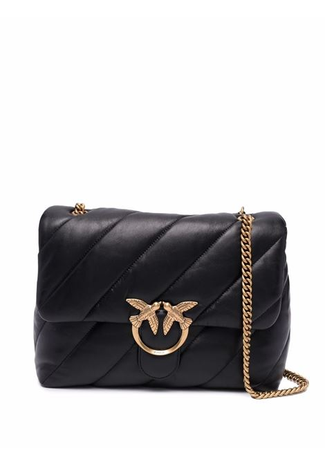 Black leather Love Big Puff quilted bag featuring gold-tone Pinko logo  PINKO |  | 1P22AW-Y6Y3Z99