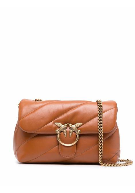Maxi borsa a tracolla Classic Love Puff in pelle marrone cuoio PINKO | Borse a tracolla | 1P22AY-Y6Y3L40