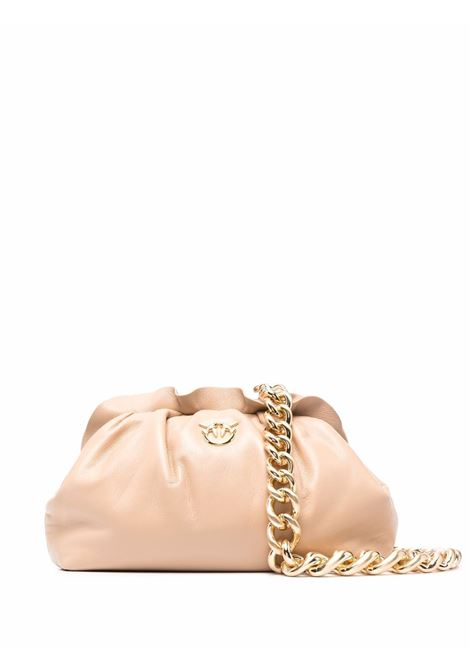 Pochette Mini Chain in nappa beige con logo Pinko dorato PINKO | Clutch | 1P22BG-Y7FQC61