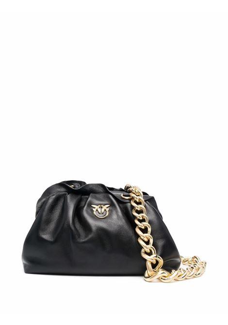 Pochette Mini Chain in nappa nera e con logo Pinko dorato PINKO | Clutch | 1P22BG-Y7FQZ99