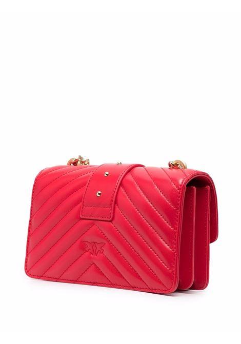 Borsa Love Mini Icon in pelle rossa con trapuntatura chevron PINKO | Borse a tracolla | 1P22BW-Y7FYR43