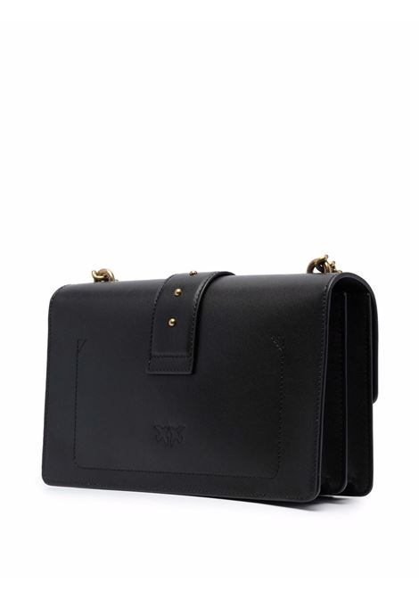 Borsa a tracolla in pelle nera con placca logo Pinko color oro PINKO | Borse a tracolla | 1P22GE-Y6XTZ99