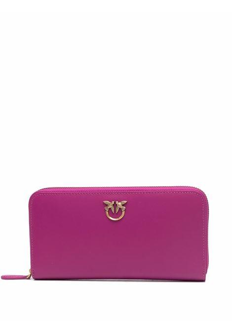 dark pink leather Ryder Wallet purse featuring gold-tone Pinko logo PINKO |  | 1P22GW-Y6XTW48