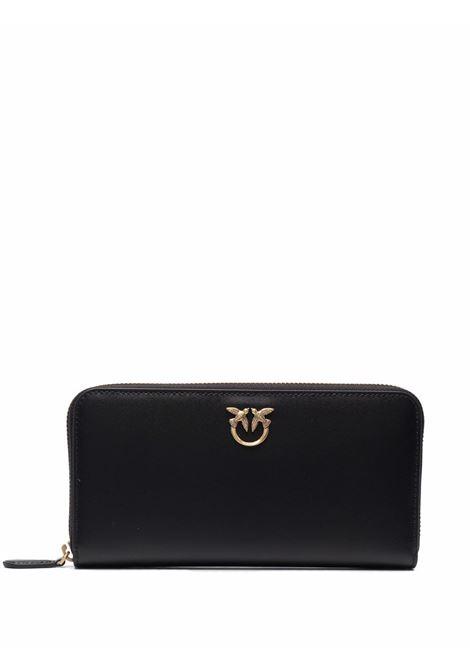 black leather Ryder Wallet purse featuring gold-tone Pinko logo  PINKO |  | 1P22GW-Y6XTZ99