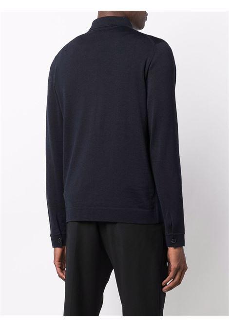 Navy blue merino wool lightweight button shirt   ROBERTO COLLINA |  | RF0100510