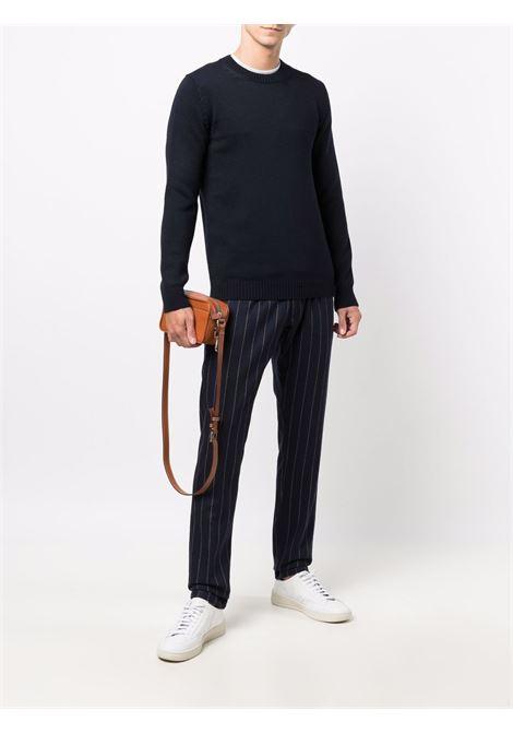 Navy blue merino crewneck jumper featuring ribbed-knit edge ROBERTO COLLINA |  | RF0200110