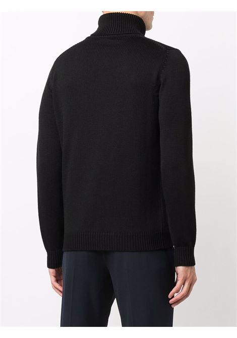 Black merino wool rollneck knitted sweater  ROBERTO COLLINA |  | RF0200309