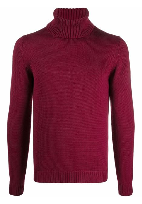 Bordeaux merino roll-neck jumper featuring knitted construction ROBERTO COLLINA |  | RF0200336