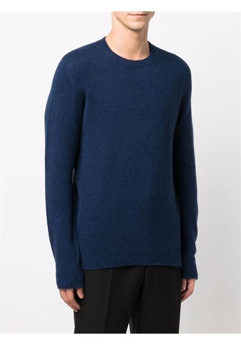 Marina blue crewneck sweater featuring ribbed-knit edge ROBERTO COLLINA |  | RF4000114