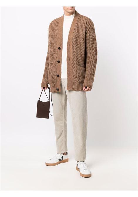 Cardigan in maglia di misto alpaca con bottoni in lana marrone alpaca ROBERTO COLLINA | Cardigan | RF4701006