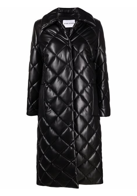 Black faux leather Dorothea diamond-quilted coat  STAND STUDIO |  | DOROTHEA-61493-864089900