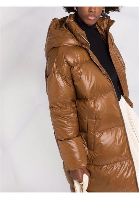 Piumino imbottito in piuma marrone nocciola con cappuccio STAND STUDIO | Piumini | ELLIE-61438-86601200