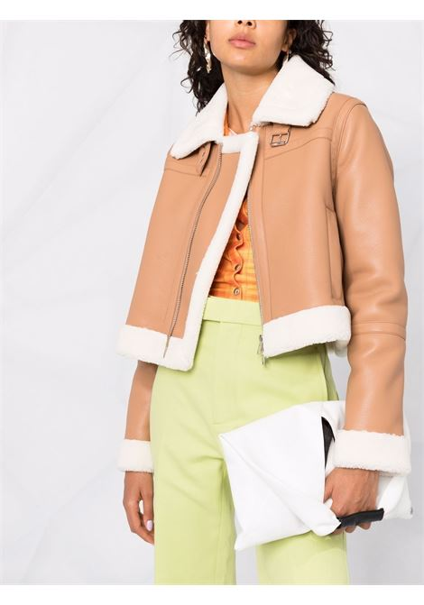 Brown cropped biker jacket featuring faux-fur lining STAND STUDIO |  | LORELLE-61055-962010300