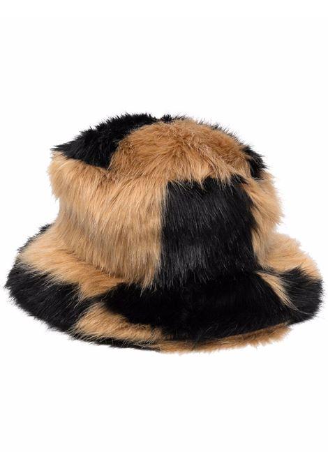 cappello a pescatore in eco-pelliccia nera e beige in stampa animalier STAND STUDIO | Cappelli | WERA-61507-902089920