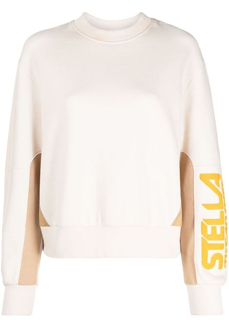 Felpa panna e cammello con logo Stella McCartney sulla manica STELLA MC CARTNEY | Felpe | 603661-SOW799201