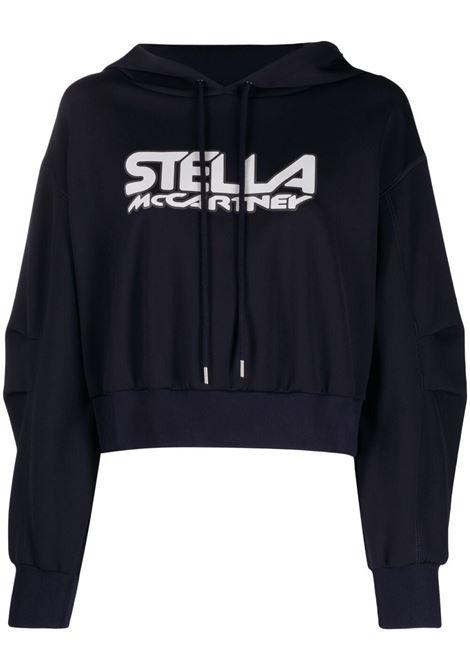 Felpa nera in cotone e scuba con cappuccio e logo Stella McCartney STELLA MC CARTNEY | Felpe | 603682-SPW054000