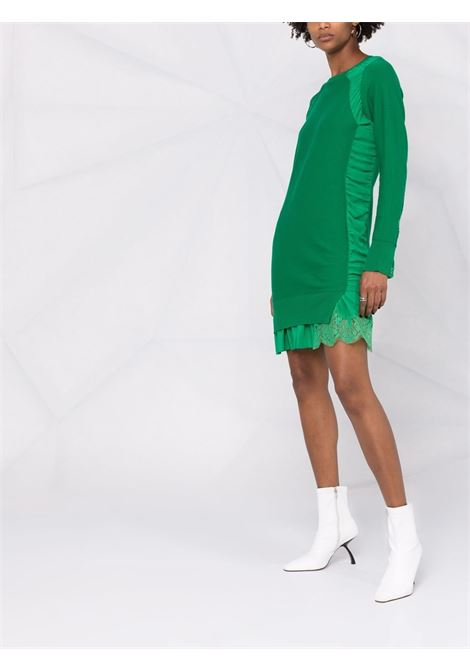 Abito verde in lana vergine e seta con pannelli in pizzo STELLA MC CARTNEY   Abiti   603693-S22623704