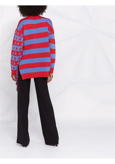 Maglia oversize Eco Hero in lana vergine rossa e blu a intarsio STELLA MC CARTNEY | Maglieria | 603712-S22648490
