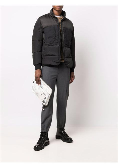 Black feather down padded zipped jacket STONE ISLAND |  | 751542840V0029