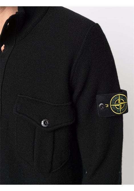 Black virgin wool half-button jumper  STONE ISLAND |  | 7515522B6V0029