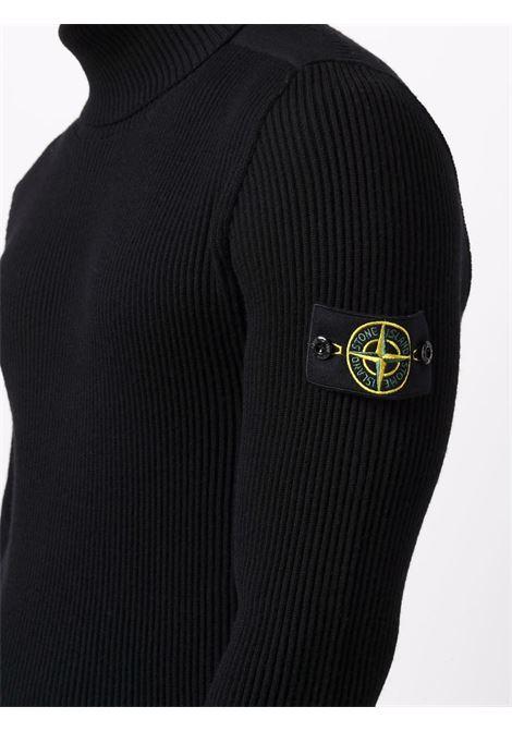 Black wool roll-neck jumper featuring Stone Island logo patch  STONE ISLAND |  | 7515525C2V0029