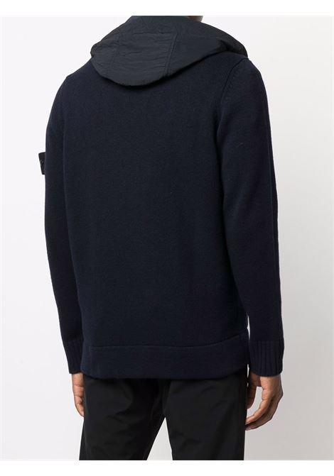 Maglia/cardigan blu navy in lana con cappuccio STONE ISLAND | Cardigan | 7515531A3V0020
