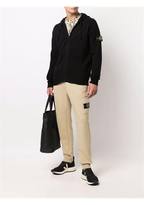 felpa con cappuccio nera con zip a maniche lunghe STONE ISLAND | Cardigan | 7515546A3V0029