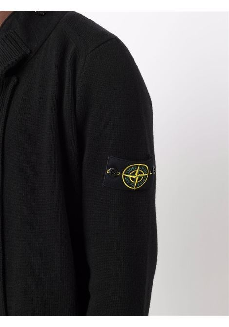 Cardigan nero in lana a collo alto con logo Stone Island STONE ISLAND | Cardigan | 7515547A3V0029