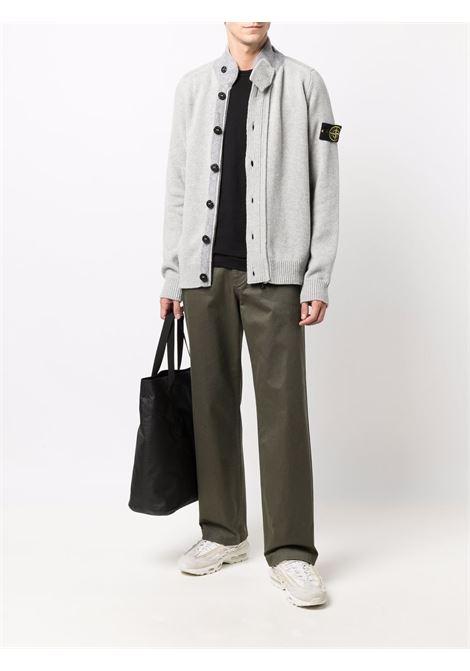 Cardigan grigio in lana con collo a imbuto STONE ISLAND | Cardigan | 7515547A3V0061