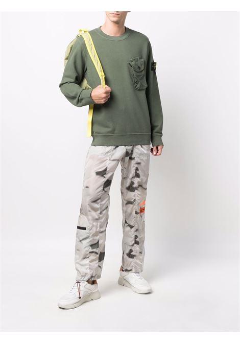 Felpa verde salvia in cotone con tasca in petto STONE ISLAND | Felpe | 751560419V0055