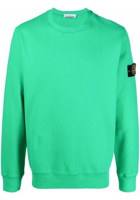 Felpa girocollo verde chiaro con logo Stone Island STONE ISLAND | Felpe | 751563020V0050