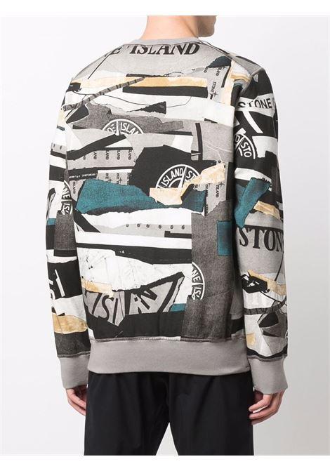 felpa in cotone multicolore in stampa patchwork con  logo Stone Island STONE ISLAND | Felpe | 751563087V0023