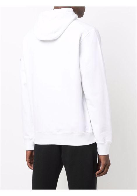 Felpa bianca in cotone con cappuccio e coulisse STONE ISLAND | Felpe | 751564120V0001