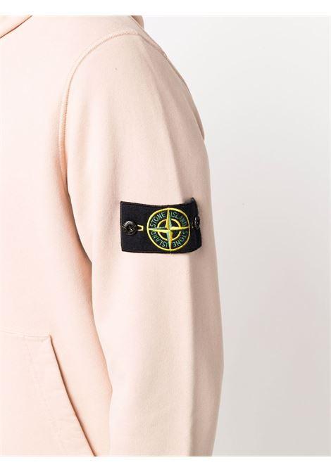 Felpa rosa chiaro in cotone con cappuccio e logo Stone island STONE ISLAND | Felpe | 751564120V0082