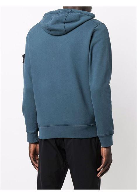 Blue cotton zipped hoodie featuring drawstring hood STONE ISLAND |  | 751564220V0023