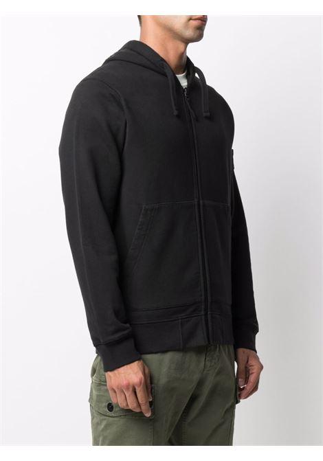 Felpa nera in cotone con cappuccio STONE ISLAND | Felpe | 751564220V0029