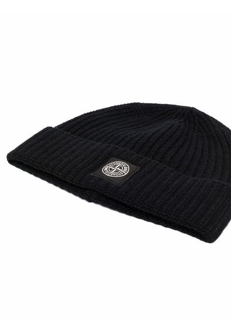 berretto in lana nera con lavorazione a coste STONE ISLAND | Cappelli | 7515N10B5V0029
