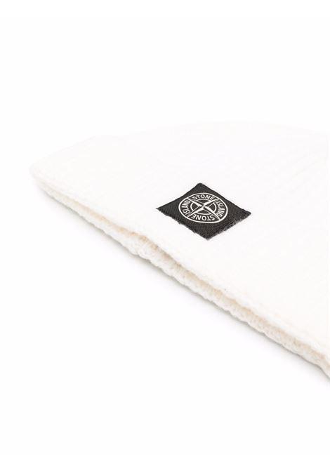 Berretto in lana bianca con lavorazione a coste STONE ISLAND | Cappelli | 7515N10B5V0099