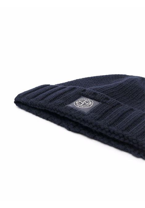 Berretto blu navy in lana vergine con bordo in maglia a coste STONE ISLAND | Cappelli | 7515N17D6V0020
